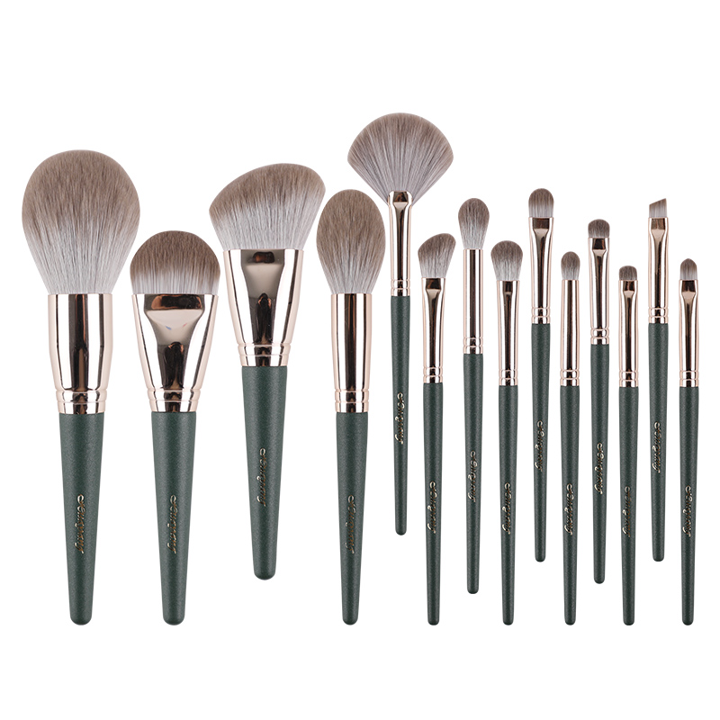 Flower brush 14 sets of makeup brush set full brush Cangzhou powder powder brush foundation brush, portable storage bag super soft.