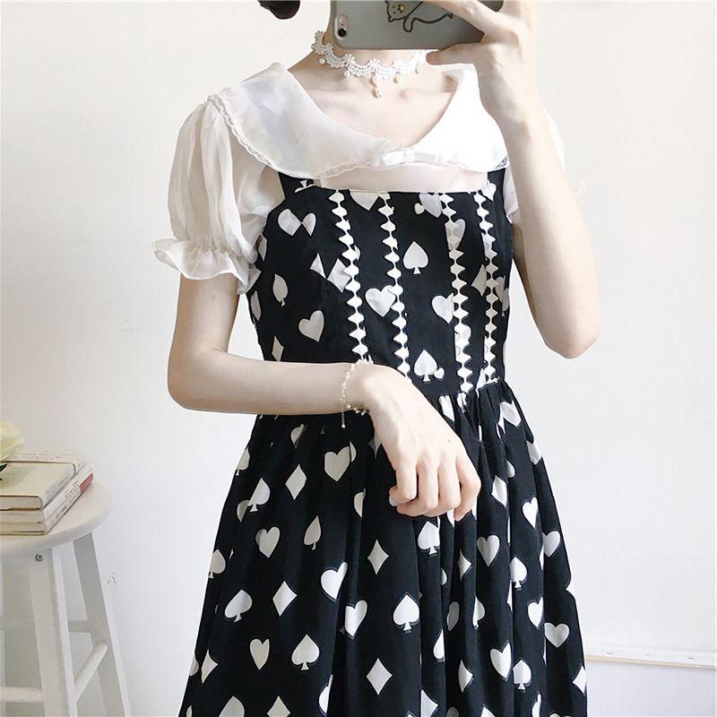 日系软妹可爱娃娃领短袖衬衫洛丽塔内衬lolita内搭打底衫上衣女夏