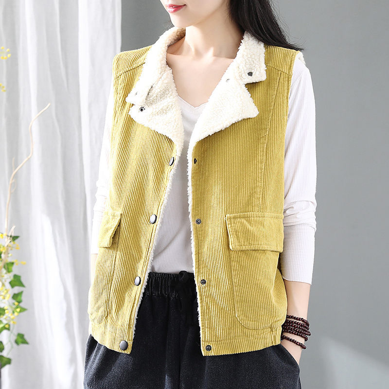 Retro corduroy vest womens cashmere thickened cashmere sleeveless vest autumn and winter striped suit collar coat