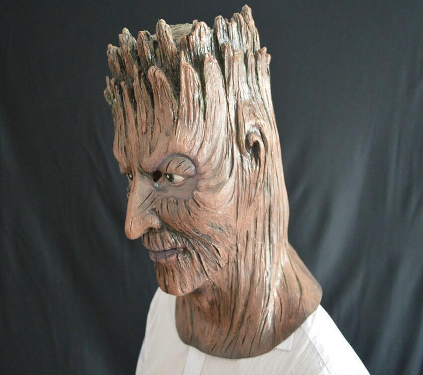 Brown grut tree demon Mask Masquerade Ball headgear Halloween thriller party trick Carnival props