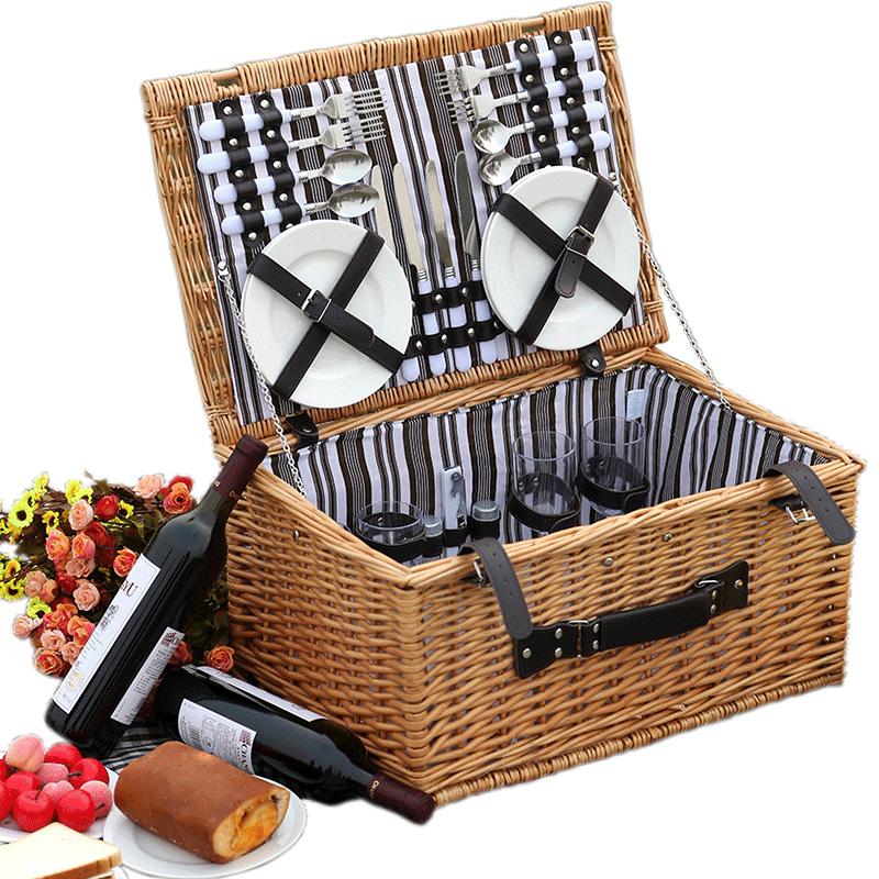 藤编野餐篮带盖送4人份餐具野餐箱子网红款【归去来】同款