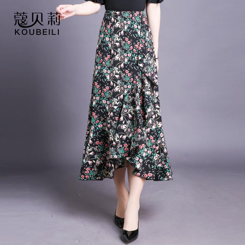 Half length skirt womens medium length spring and summer new Chiffon printed irregular long skirt Ruffle Skirt shows thin fishtail skirt