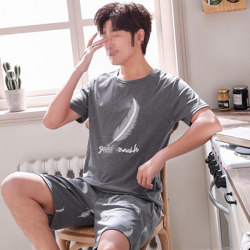 中國代購|中國批發-ibuy99|家居服男|男士睡衣男夏季短袖纯棉2021年新款青少年薄款大码家居服夏天套装