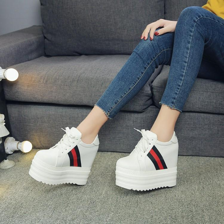 New Korean lace up womens shoes in spring of 2018 14cm super high heel increase leisure shoes sports muffin small white shoes