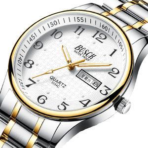 双日历男士老人手表防水大表盘数字中老年人表学生电子石英表男表