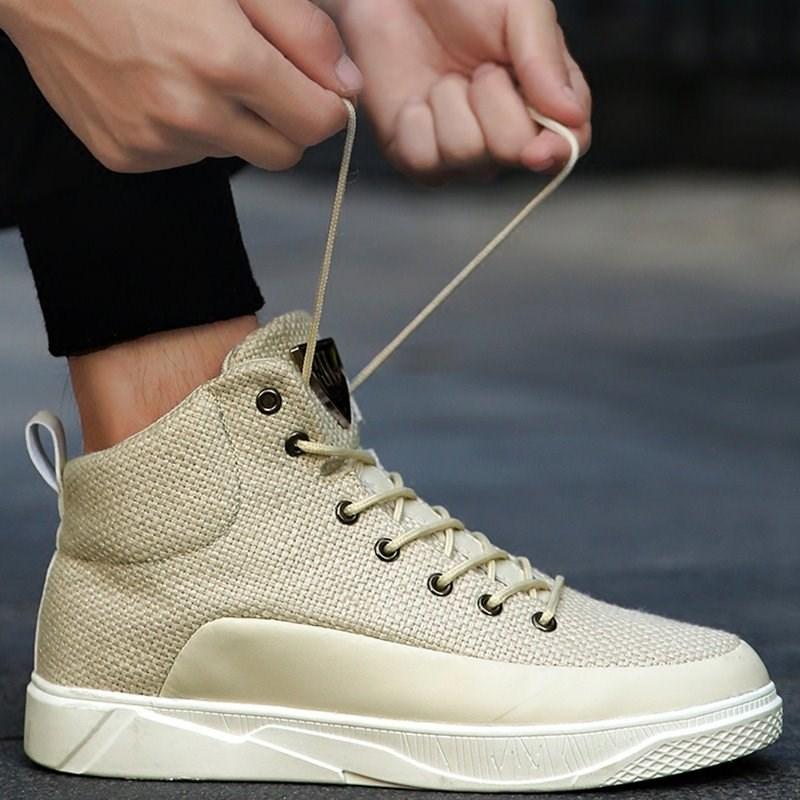 男鞋子休闲鞋2019秋季新款时尚亚麻运动鞋透气高帮板鞋布鞋潮鞋