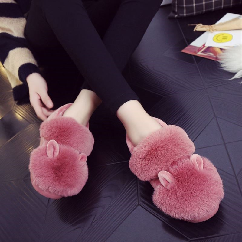 Mens and womens cotton shoes warm cartoon couple bear cute cotton slippers plush animal Korean bag heel claw winter slippers