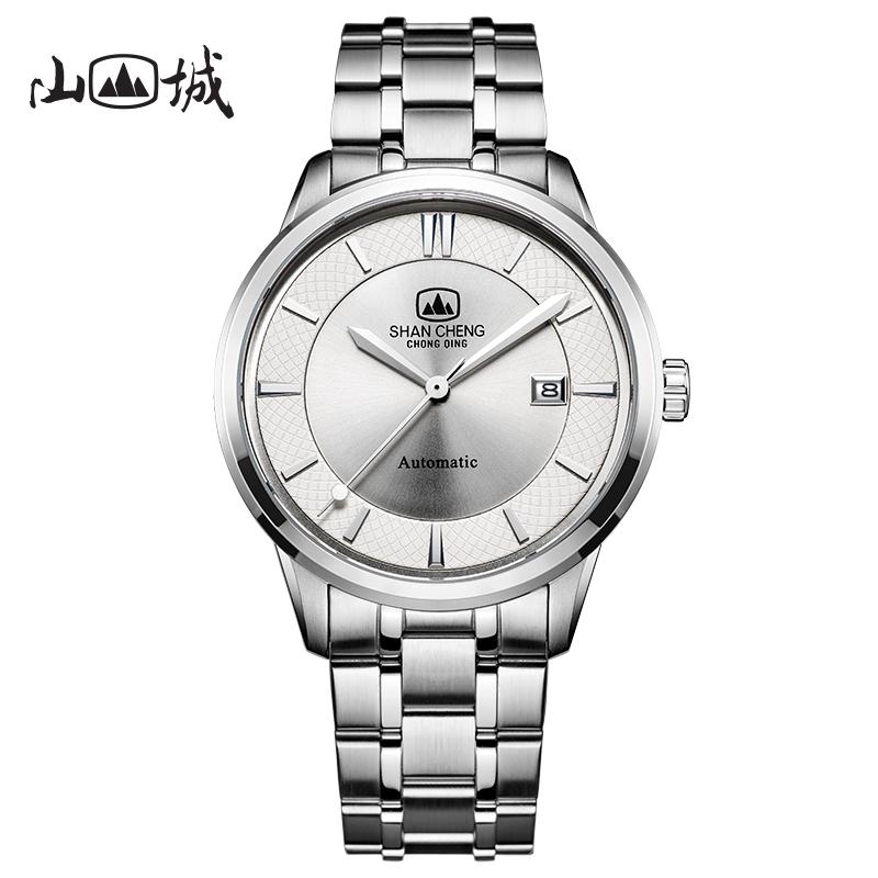 Shancheng watch mens Chinese national brand simple calendar mens watch belt automatic mechanical watch