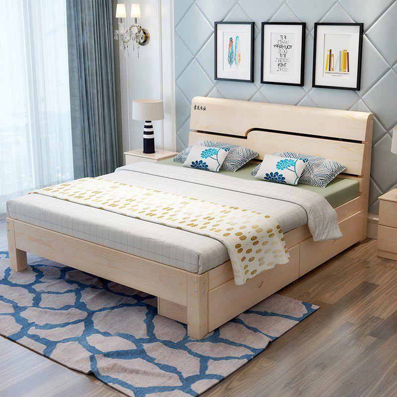 简约现代成人组装床主卧单人1.8米1米2经济型小户型实木床双人床,可领取元淘宝优惠券