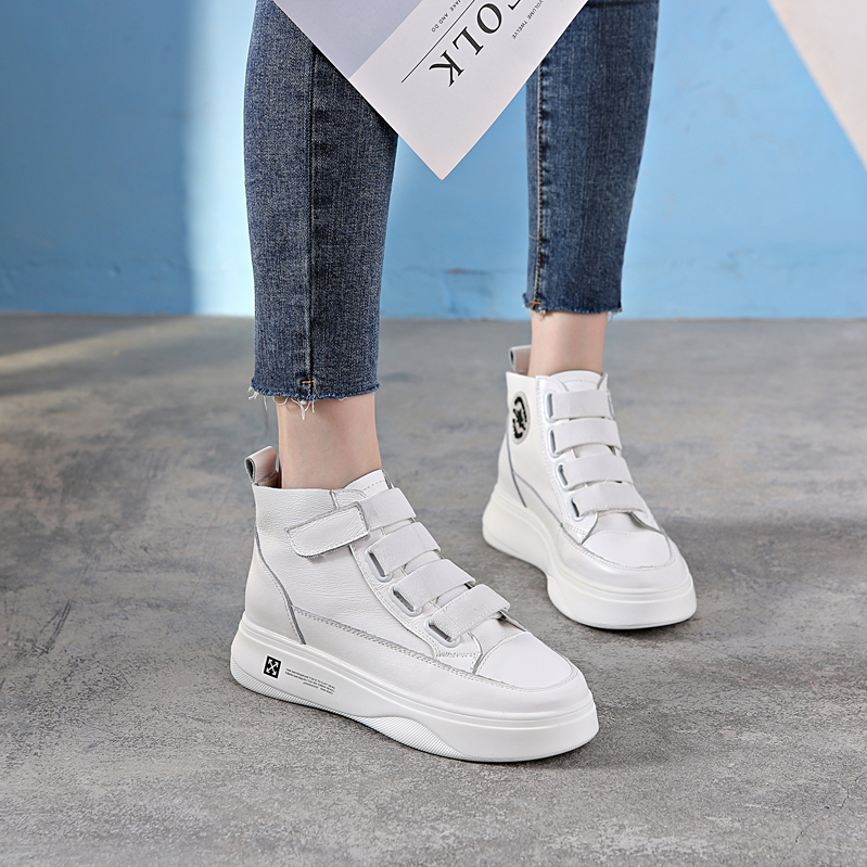 Autumn shoes womens autumn style inner heightening small white shoes net red versatile thick soled muffin shoes leather Velcro high top shoes