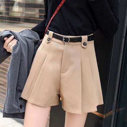 贺繁星同款西装短裤女2020年春款流行款百褶裤高腰阔腿靴加绒裤子