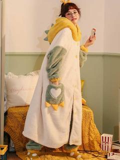 珊瑚绒睡衣套装女秋冬季加厚毛茸茸卡通可爱长款睡袍法兰绒家居服