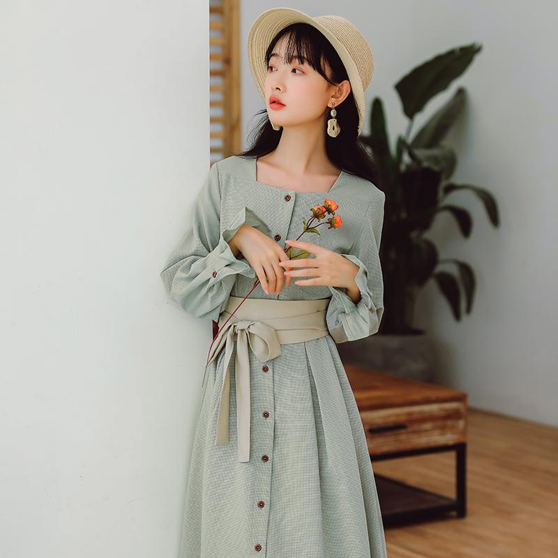 方领连衣裙法式