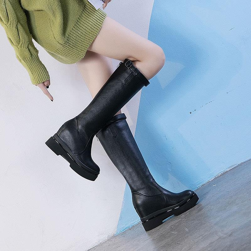 Increase womens leather boots in autumn and winter 2020 thick bottom buckle leisure high barrel cotton boots show thin womens boots high top womens shoes