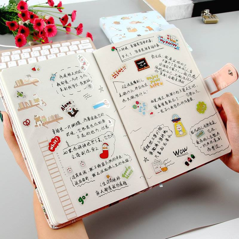 Inside the notebook, there are colorful stationery pages with illustrations, small and fresh hand-painted color patterns, pictures and pictures