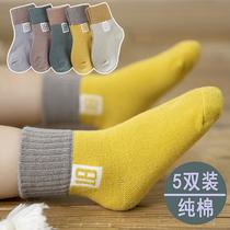 儿童袜子纯棉春秋冬季秋天加厚男童女童男孩中筒婴儿宝宝袜012岁