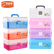 Sinaijie Art Picture Box Transparent Plastic Toolbox for Primary School Students Hand-held Big Three-tier Nail Receiving Box