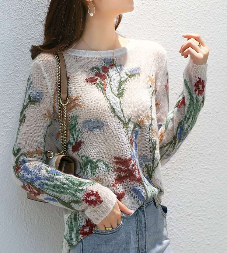 [sky blue home] heavy industry embroidered Mohair T-shirt Alpaca blended soft knitted long sleeve T-shirt womens autumn
