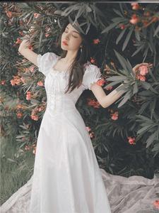 法式小白裙赫本风复古超仙长裙锁骨一字肩连衣裙女仙显瘦显高气质