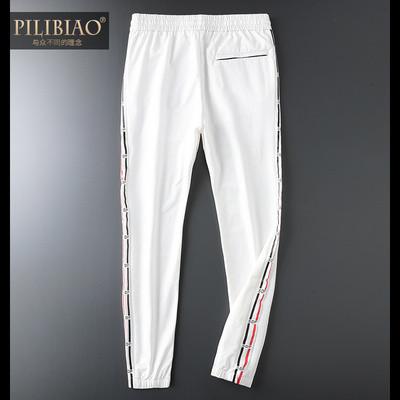 新款轻奢品质男装白色冰丝薄款舒适春夏休闲裤男修身运动长