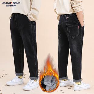 加绒儿童裤 中大童弹力宽松长裤 女童牛仔裤 子加厚夹棉裤 外穿秋冬款