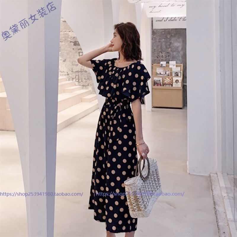 Off shoulder Jumpsuit womens 2020 new wave point high waist loose Jumpsuit wide leg pants