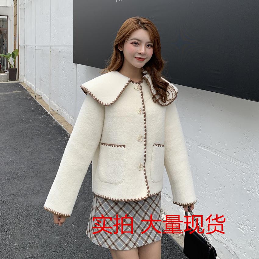 白色毛毛鹿皮绒皮毛一体外套女秋冬装新款韩版宽松短款小个子上衣