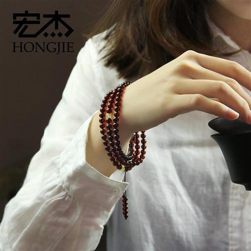 Hongjie blood Po Bracelet mens and womens 108 Buddhist beads wine red blood amber bracelet Jewelry Gift