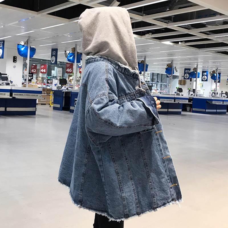 Funny girl denim jacket fashion Korean version black 77 loose BF hip hop student fake two hooded jacket jacket jacket cool
