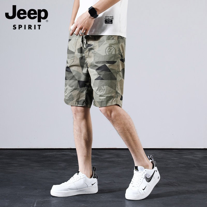 Jeep shorts mens summer ice silk 5-point camouflage new casual pants loose large underpants quick drying sports pants fashion