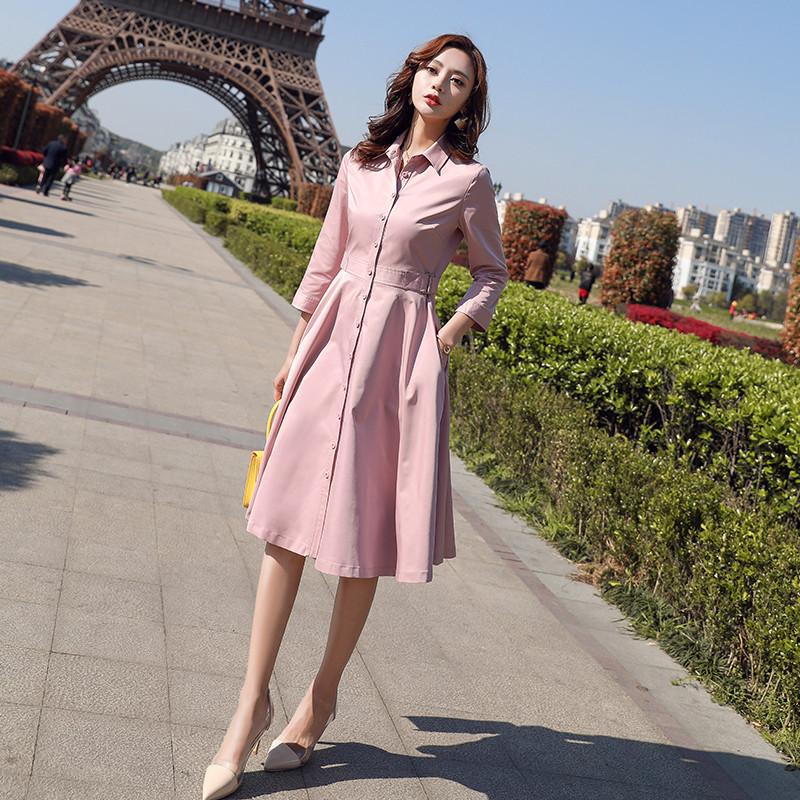 2020春装新款韩版风衣裙女韩版中长款连衣裙修身衬衫领A字长裙子