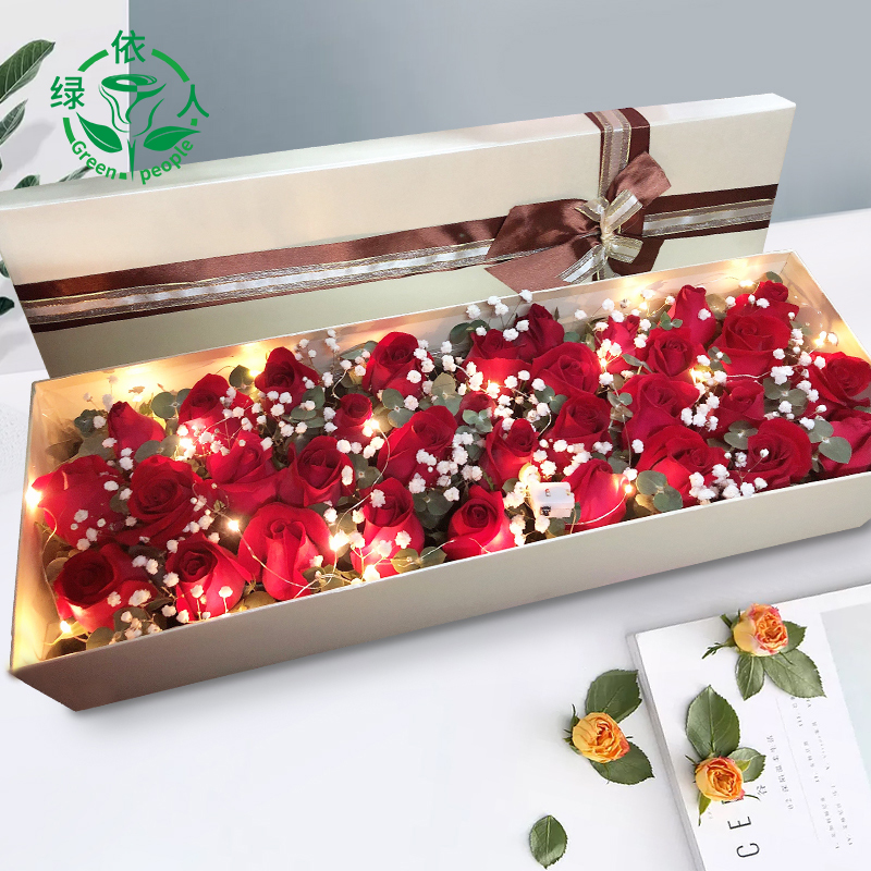 Luoyang flower intra city express red powder champagne rose bouquet gift box Laocheng Xigong Luolong 520 distribution store