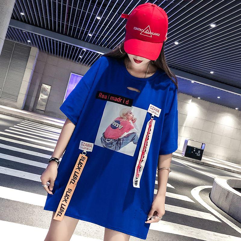 韩国下衣失踪风t恤女学生2019新款韩版中长款宽松上衣女嘻哈潮ins12-01新券