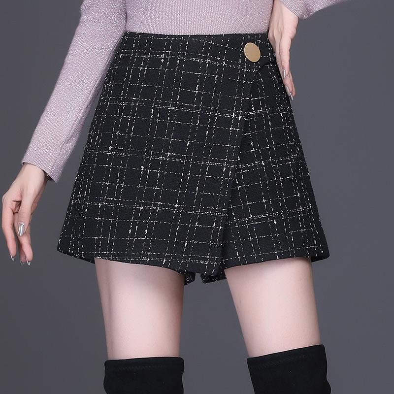 Plaid Shorts women 2020 new autumn and winter small fragrance high waist slim dress pants wide leg pants autumn womens pants