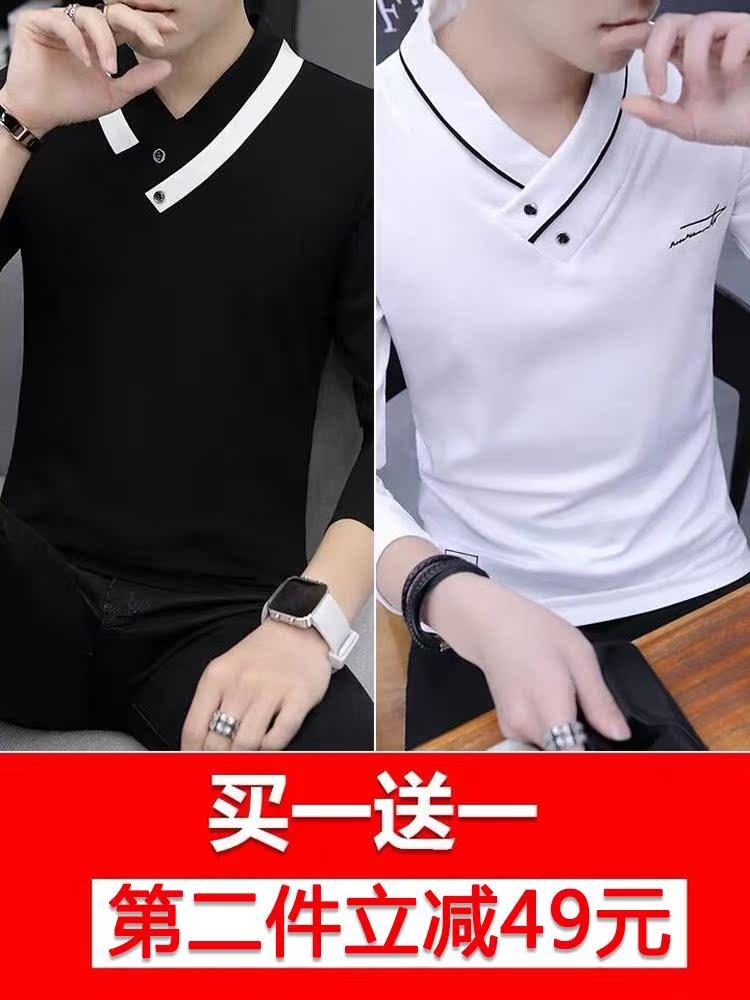 秋冬季男士春装长袖t恤V领上衣秋衣男装韩版卫衣服个性潮流打底衫