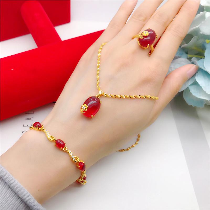 镀金镶嵌红宝石吊坠项链女 气质首饰套装 仿越南沙金饰品久不掉色
