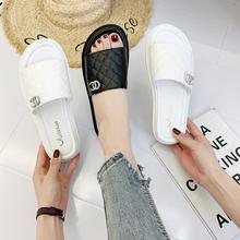 凉拖鞋女夏2020新款高跟厚底时尚百搭一字拖鞋防滑外穿度假沙滩鞋