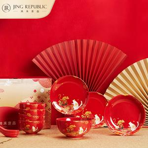 中国红家用简约新骨瓷饭碗勺子