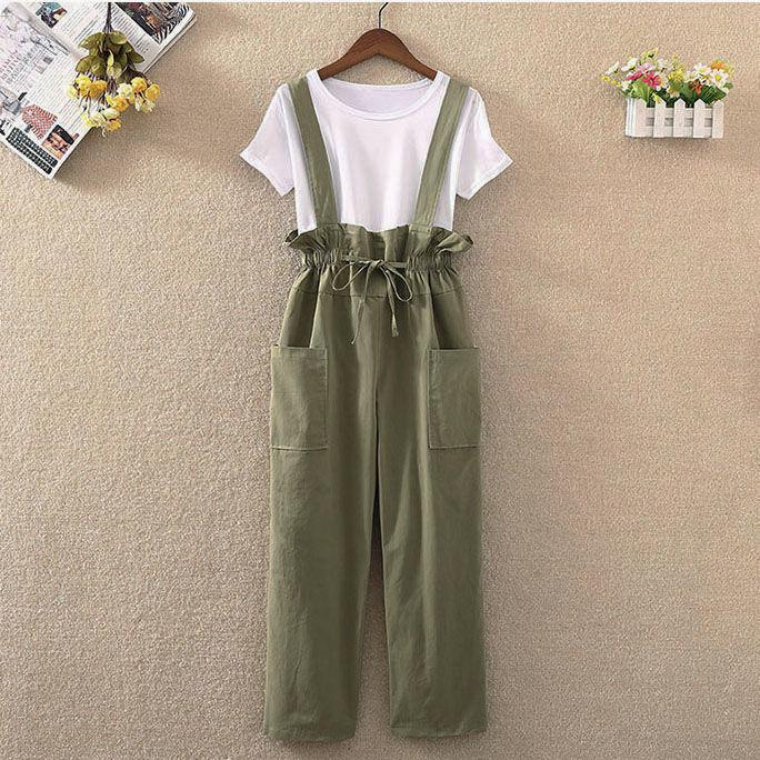 Chic retro middle school students one-piece suspenders womens Korean version loose summer casual suspender wide leg pants trend