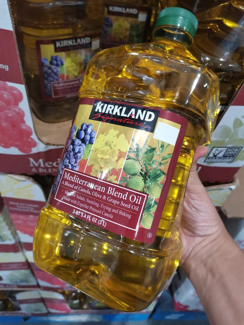 上海costco代购Kirkland科克兰菜籽橄榄葡萄籽食用植物调和油3L装