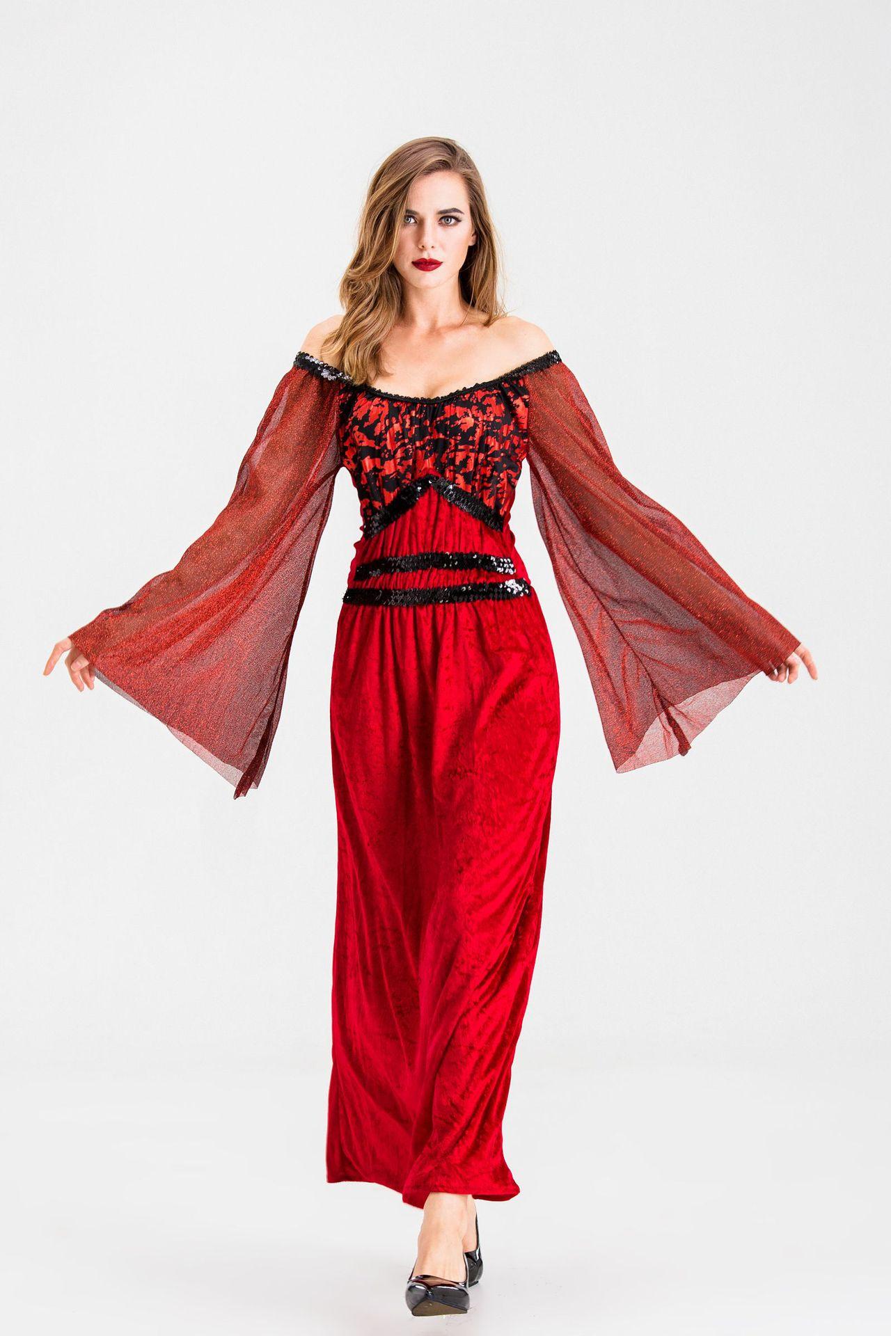 万圣节服装成人吸血鬼伯爵角色扮演服女王服装红色恶魔一字肩长裙