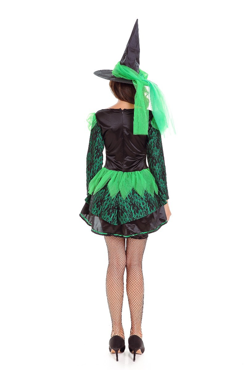 New Halloween Costume Cosplay sexy deep V-neck Green Witch Costume Party stage costume