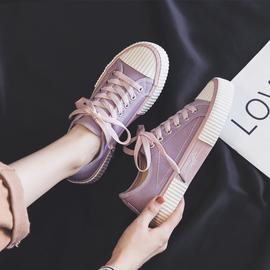紫色帆布鞋女ulzzang夏季可爱2020年板鞋低帮新款百搭饼干潮鞋ins图片