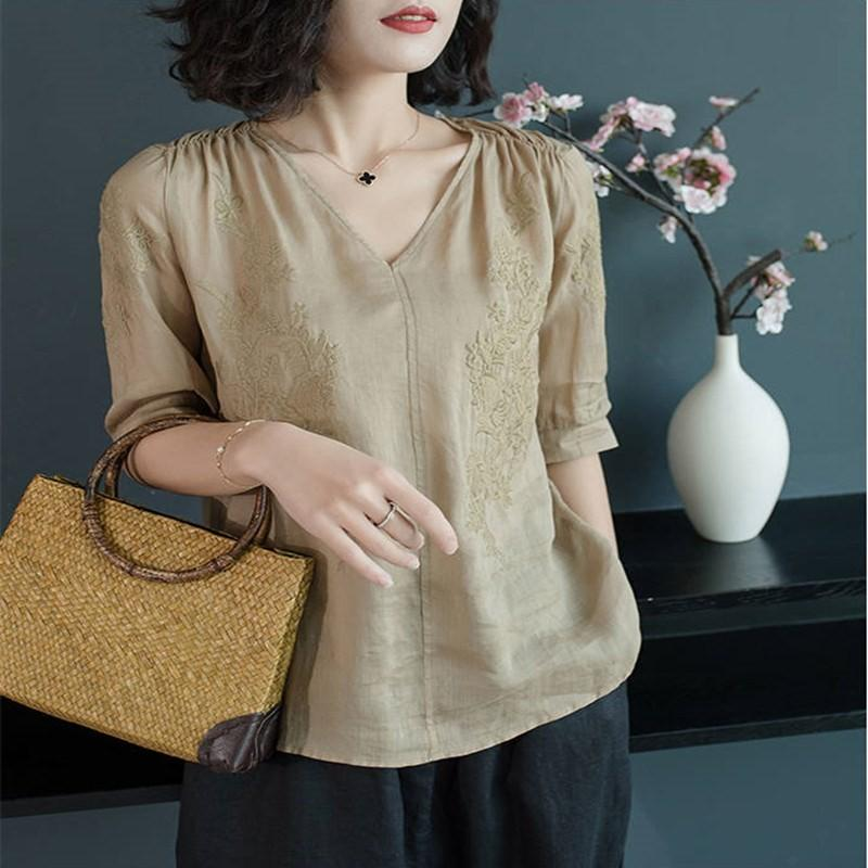 Cotton and ramie blouse womens short slim shirt summer fashion young loose linen ramie solid color half sleeve shirt womens wear