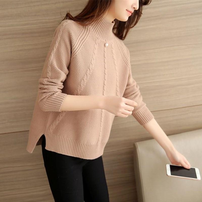 春秋新款纯色上衣短款针织衫钉珠毛衣女装大码显瘦套头宽松打底衫