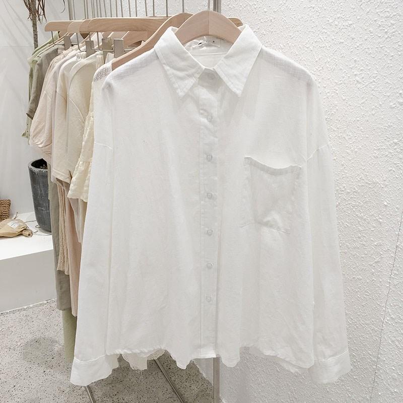 早秋季2019新款韩版女装ins翻领长袖衬衫单排扣女学生小清新上衣