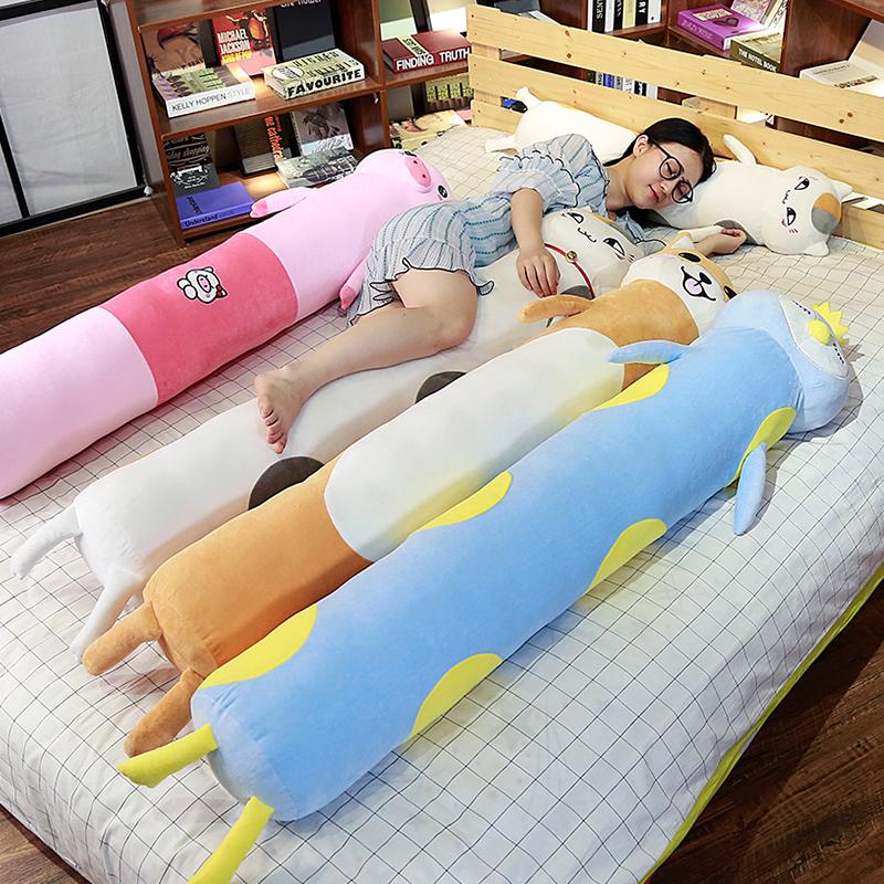 可爱的超长侧睡长条枕幼儿男生懒人素色安抚抱枕大人长枕头加厚