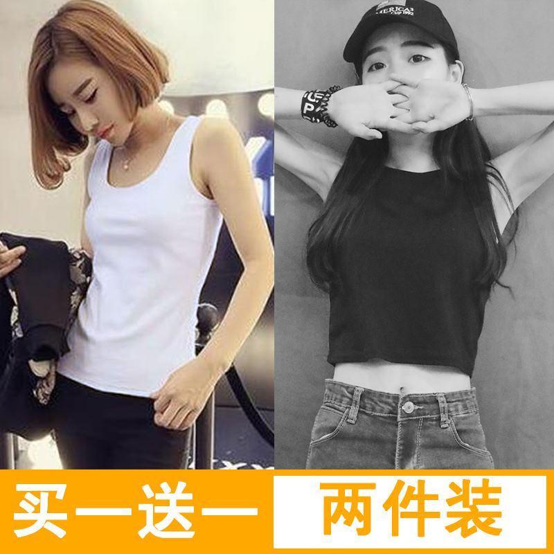加肥纯色短袖速干条纹图案女生个性设计感加大黑白两件风棉背心