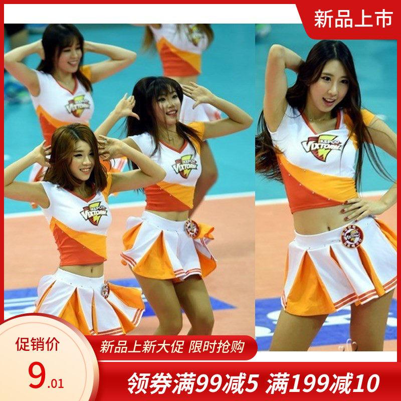 新款少女服装足球啦啦队少女演服健美操服舞蹈演出服