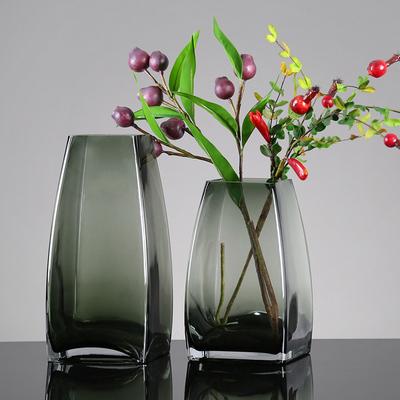 轻奢方口玻璃花瓶水培简约创意客厅花器家居装饰插花干花花瓶摆设